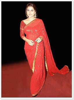 Vidya Balan in Designer Red Saree with Golden Border
