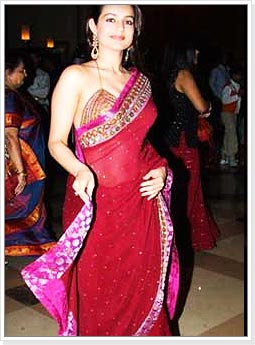 Ameesha Patel in Red Party Wear Saree