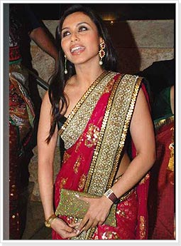 Rani Mukherjee in Red Designer Saree