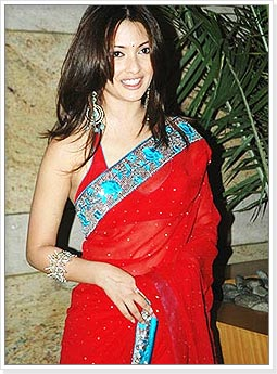 Riya Sen in Red Saree with Blue Border