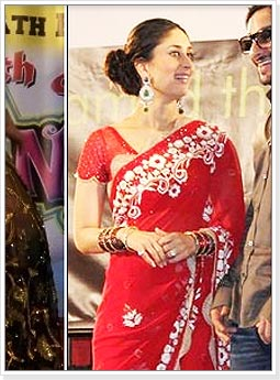 Kareena Kapoor in Red Designer Wear Saree