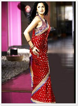 Katrina Kaif in Polka Dots Red Saree