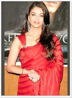 Aishwarya in Striped Red Saree