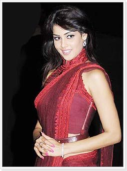 Genelia in Red Designer Saree
