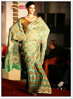Bridal Saree with Golden Polka Dots